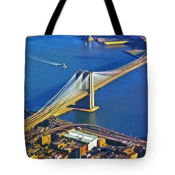 Booklyn And Manhattan Bridges Tote Bag