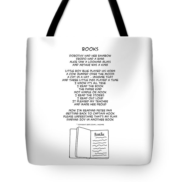 Tote Bag featuring the drawing Books by John Haldane