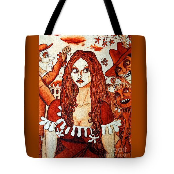 Tote Bag featuring the painting Boor People And Girl by Don Pedro De Gracia