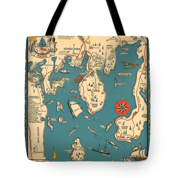 Boothbay Harbor And Vicinity - Vintage Illustrated Map - Pictorial - Cartography Tote Bag