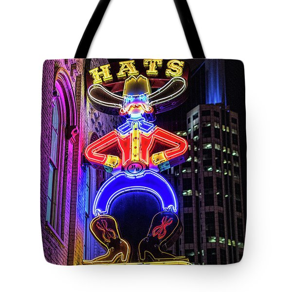 Boots And Hat Neon Sign Tote Bag