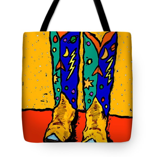 Boots On Yellow 24x30 Tote Bag