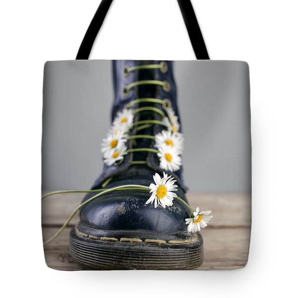 Boots With Daisy Flowers Tote Bag