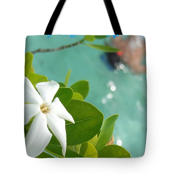 Bora Bora Swimming Under Flowers Tote Bag