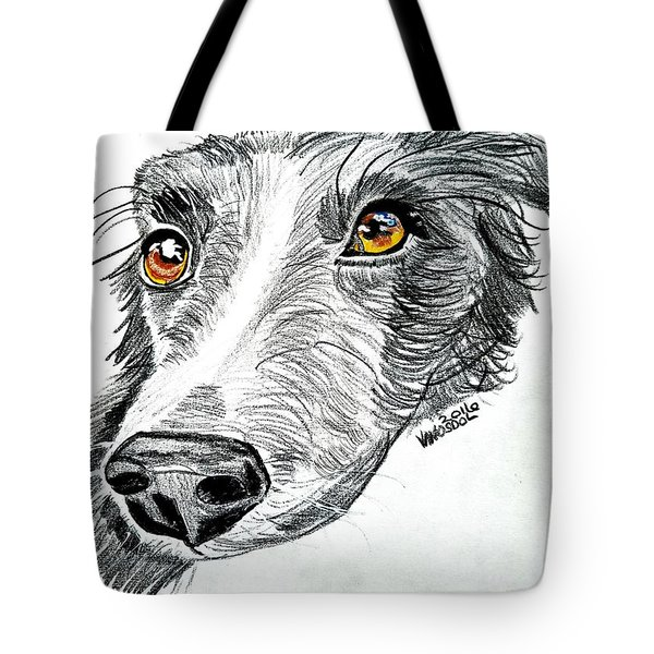 Border Collie Dog Colored Pencil Tote Bag