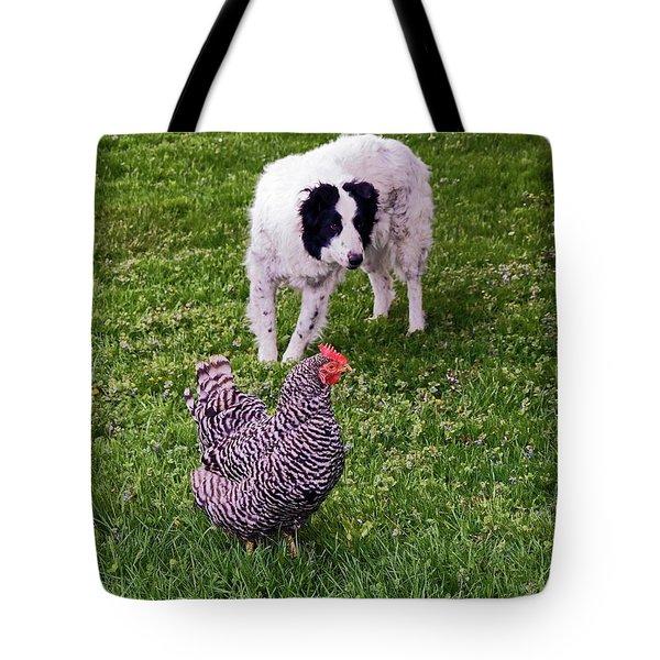 Border Collie Herding Chicken Tote Bag