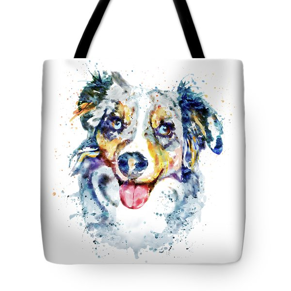 Tote Bag featuring the mixed media Border Collie  by Marian Voicu