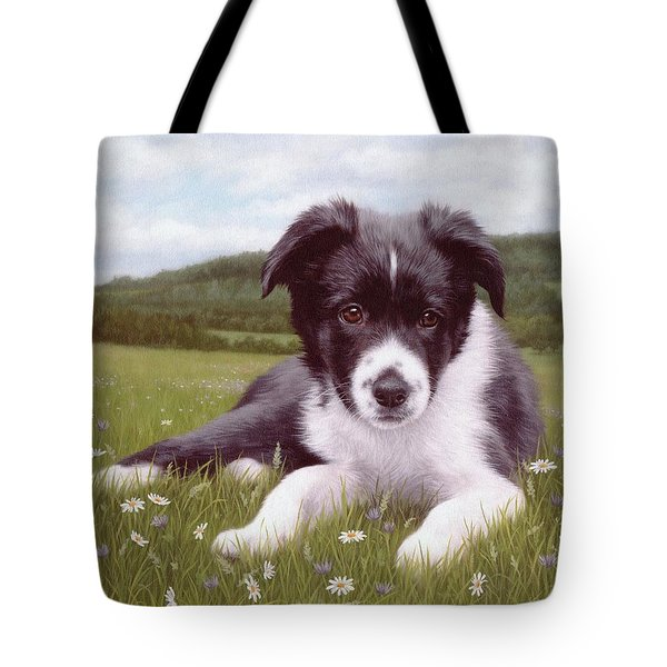 Border Collie Puppy Painting Tote Bag
