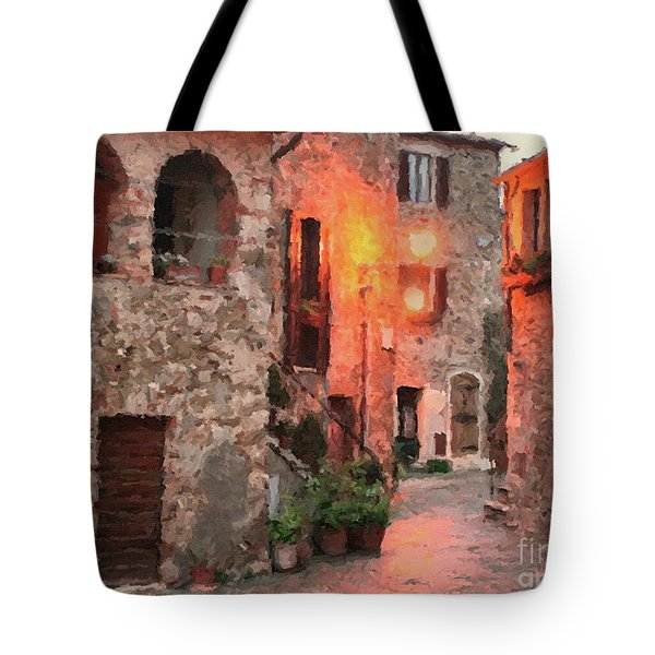 Tote Bag featuring the painting Borgo Medievale by Rosario Piazza