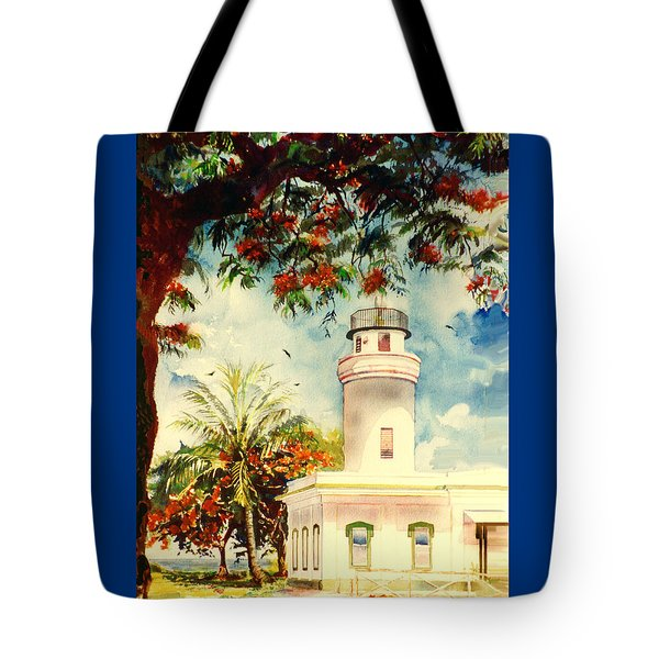Borinquen Lighthouse Aguadilla Puerto Rico Tote Bag by Estela Robles