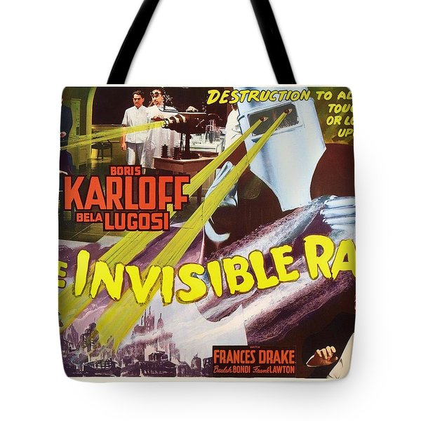 Boris Karloff And Bela Lugosi In The Invisible Ray 1936 Tote Bag