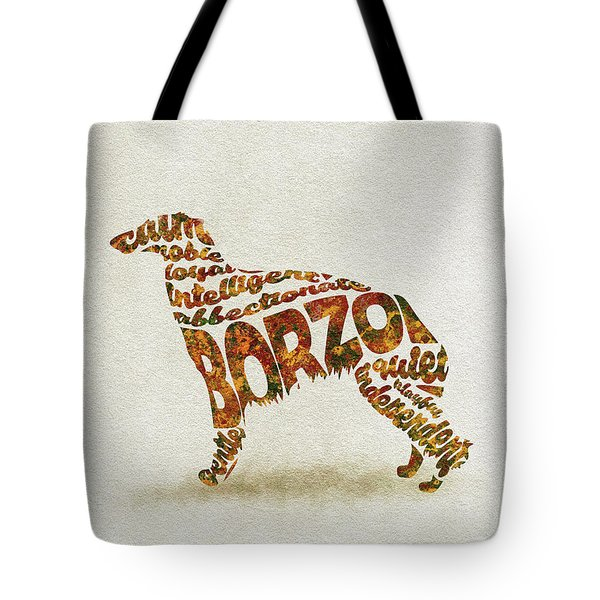 Tote Bag featuring the painting Borzoi Dog Watercolor Painting / Typographic Art by Inspirowl Design