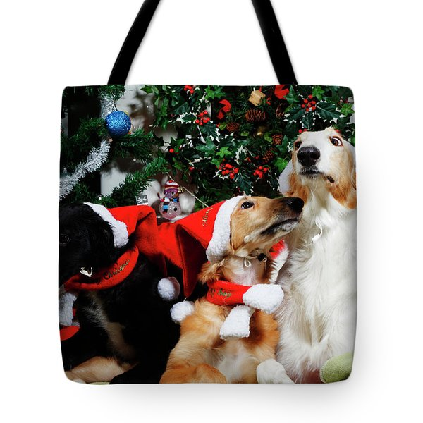 Borzoi Hounds Dressed As Father Christmas Tote Bag