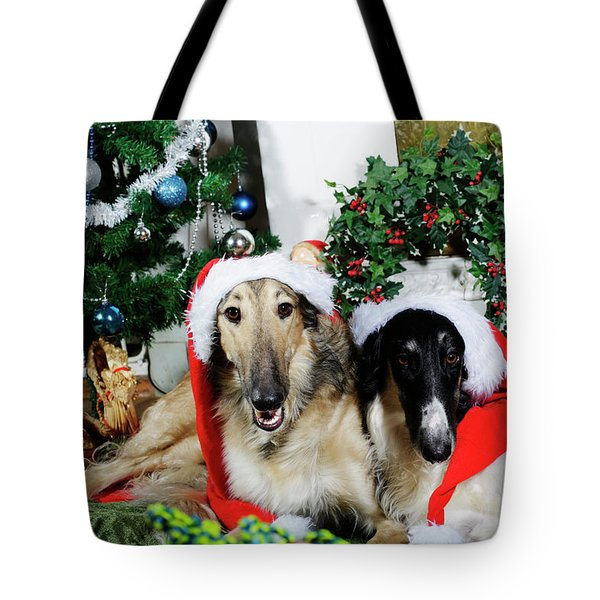 Borzoi Puppies Wishing A Merry Christmas Tote Bag