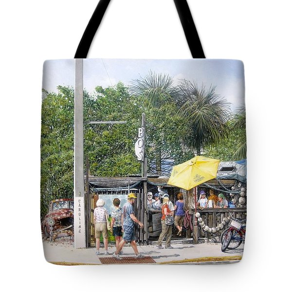 Tote Bag featuring the painting Bos Fish Wagon by Bob George