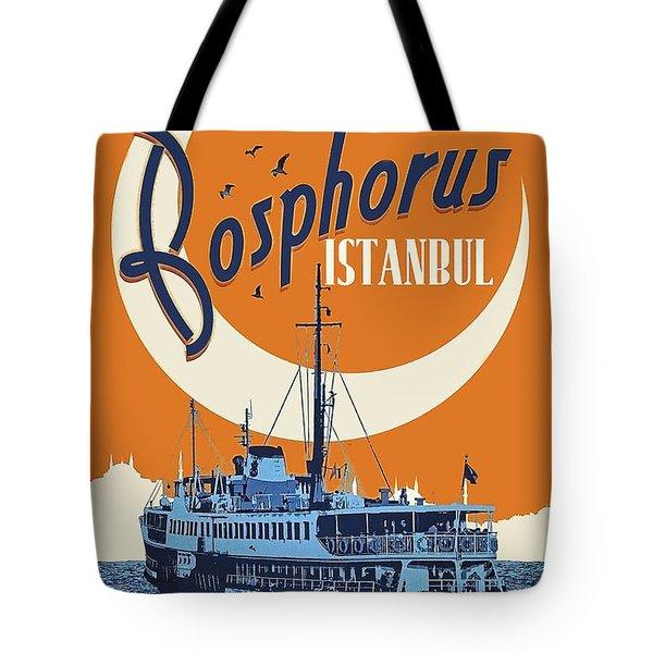 Bosporus, Istanbul, Turkey, Tourist Ship On Its Route Tote Bag