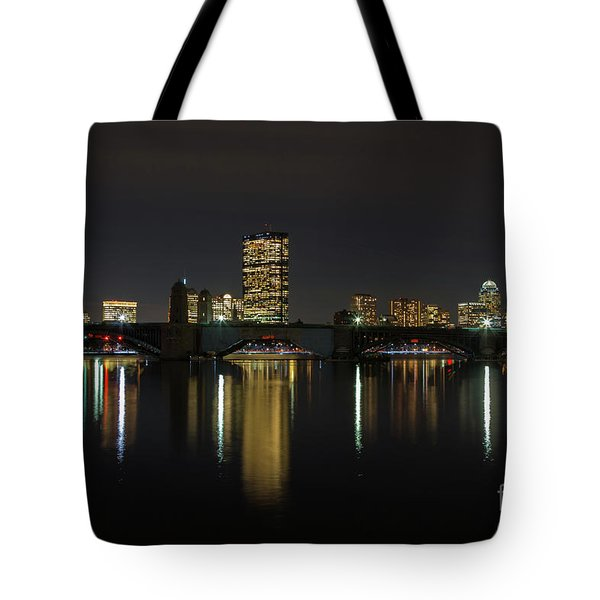 Boston Skyscrappers Behind Bridge Tote Bag