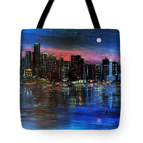 Boston At Night Tote Bag