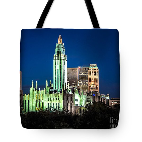 Boston Avenue Methodist Church At Twilight Tote Bag by Tamyra Ayles