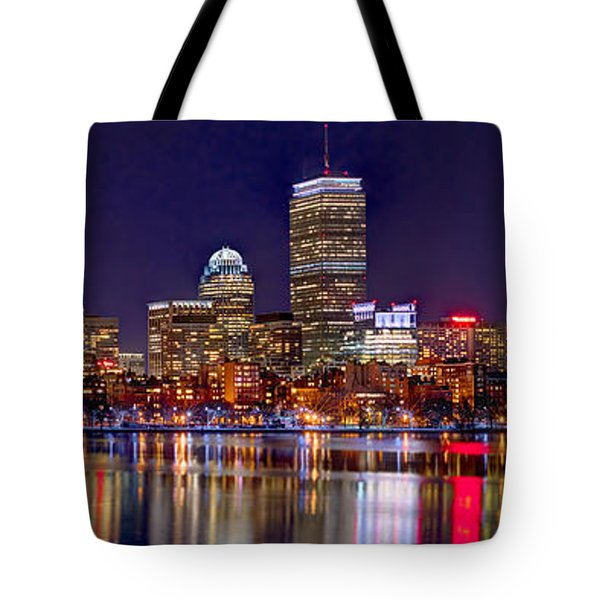 Tote Bag featuring the photograph Boston Back Bay Skyline At Night 2017 Color Panorama 1 To 3 Ratio by Jon Holiday