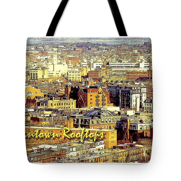 Tote Bag featuring the digital art Boston Beantown Rooftops Digital Art by A Gurmankin