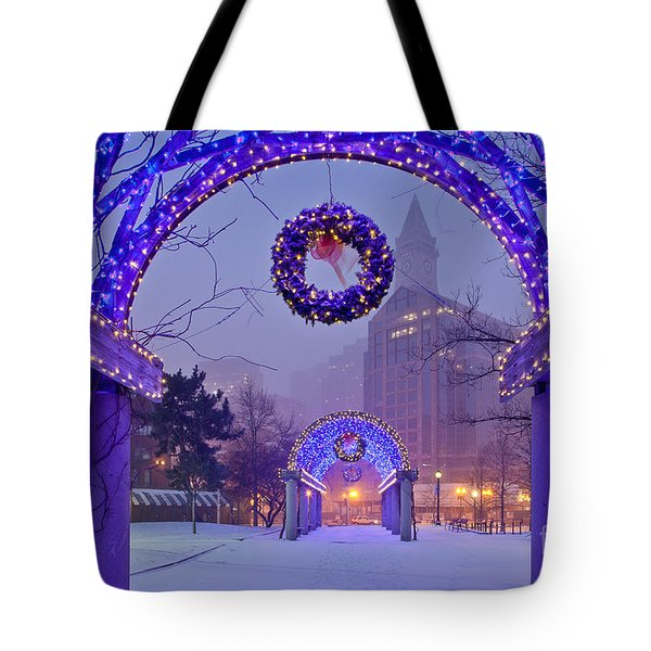 Boston Blue Christmas Tote Bag