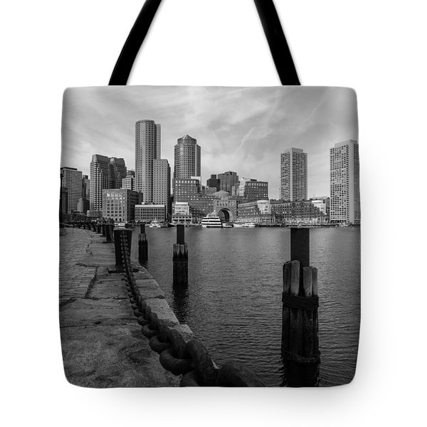 Boston Cityscape From The Seaport District In Black And White Tote Bag