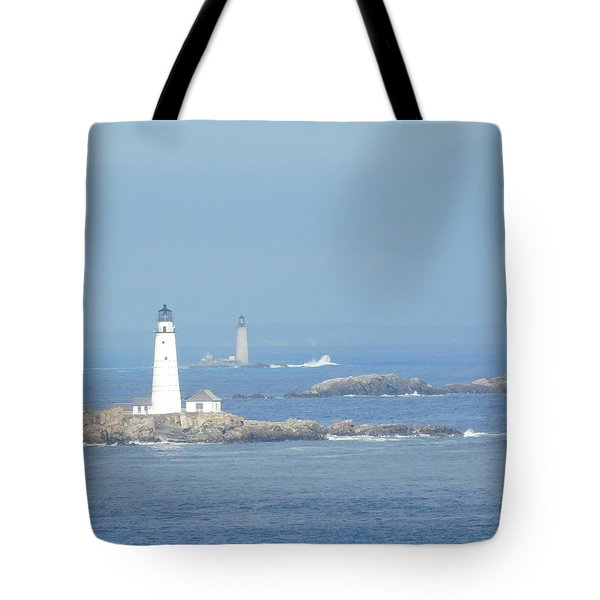 Boston Harbor Lighthouses Tote Bag by Catherine Gagne