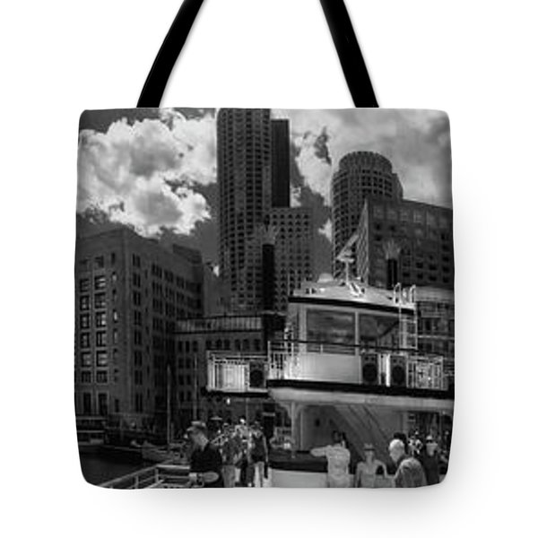 Tote Bag featuring the photograph Boston Harbor Panoramic In Black And White by Joann Vitali