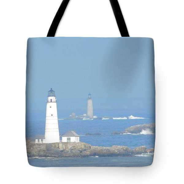 Boston Harbors Lighthouses Tote Bag by Catherine Gagne