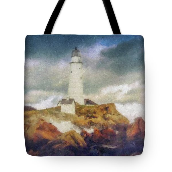 Boston Light On A Stormy Day Tote Bag