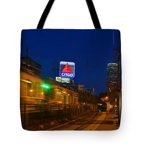 Boston Ma Green Line Train On The Move Tote Bag