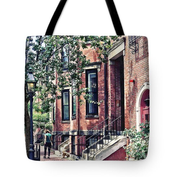 Boston Ma - Walking The Dog On Mount Vernon Street Tote Bag
