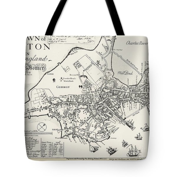 Boston Map, 1722 Tote Bag