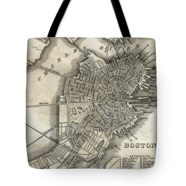 Boston Map Of 1842 Tote Bag by George Pedro