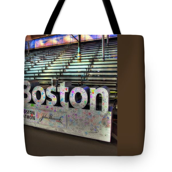 Tote Bag featuring the photograph Boston Marathon Sign by Joann Vitali