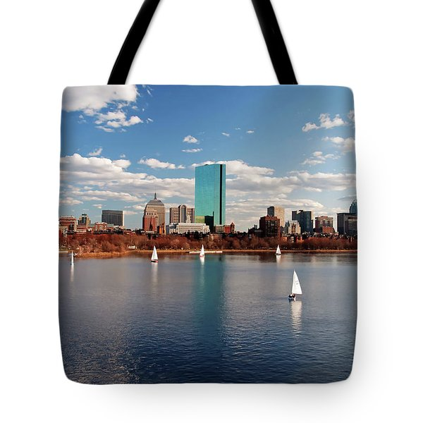 Tote Bag featuring the photograph Boston On The Charles  by Wayne Marshall Chase