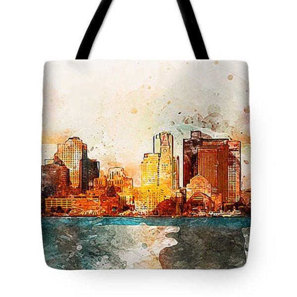 Boston, Panorama - 10 Tote Bag