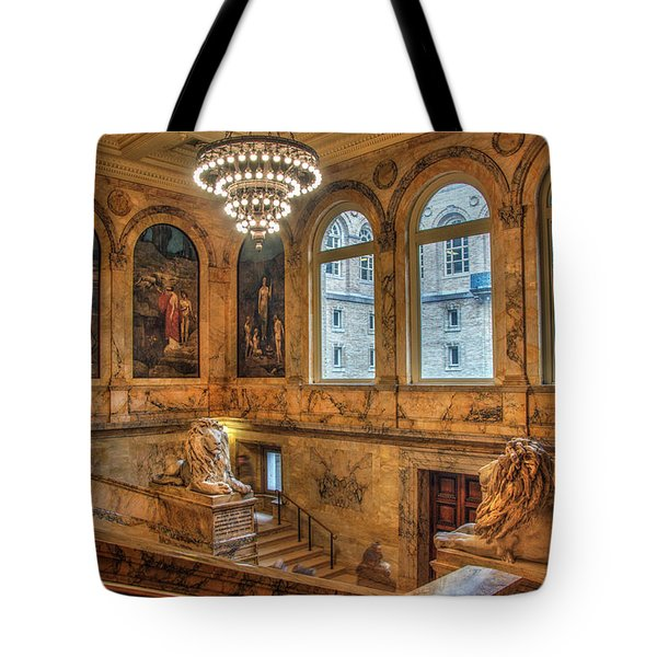 Tote Bag featuring the photograph Boston Public Library Architecture by Joann Vitali