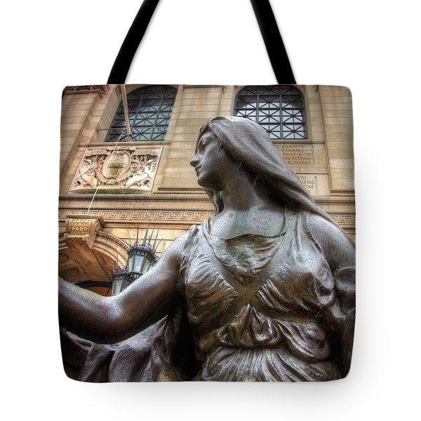 Tote Bag featuring the photograph Boston Public Library Lady Sculpture by Joann Vitali