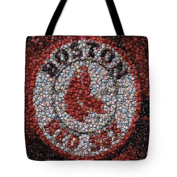 Boston Red Sox Bottle Cap Mosaic Tote Bag by Paul Van Scott