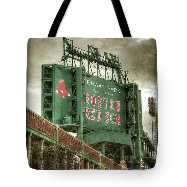 Tote Bag featuring the photograph Boston Red Sox Fenway Park Scoreboard by Joann Vitali