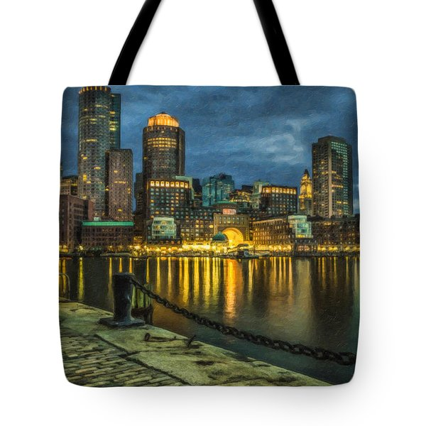 Boston Skyline At Night - Cty828916 Tote Bag