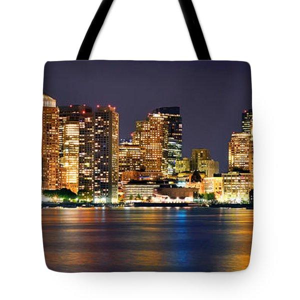 Boston Skyline At Night Panorama Tote Bag