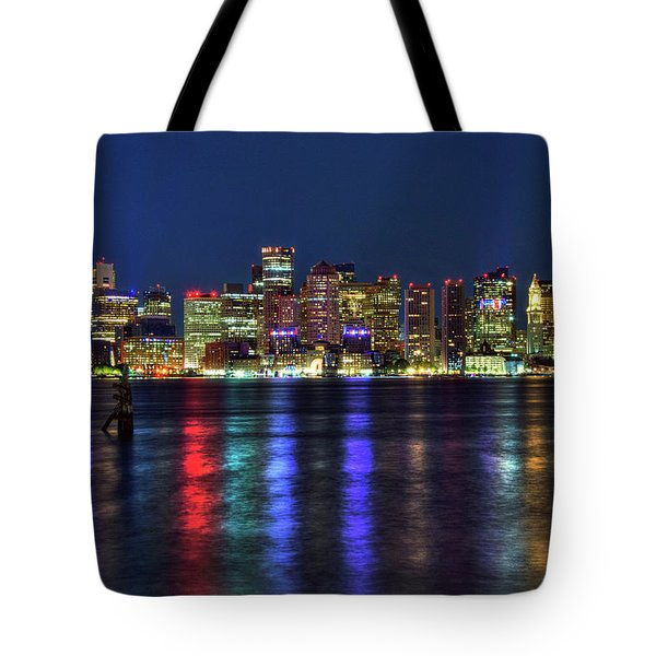 Tote Bag featuring the photograph Boston Skyline Harborside At Night  by Joann Vitali