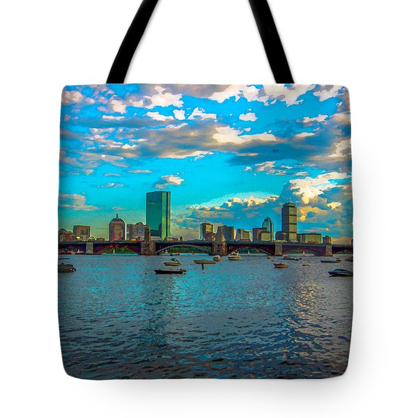 Boston Skyline Painting Effect Tote Bag