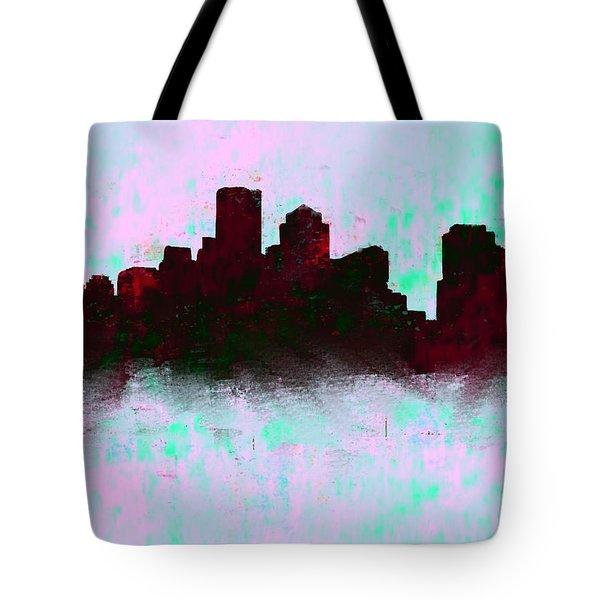 Boston Skyline Sky Blue  Tote Bag