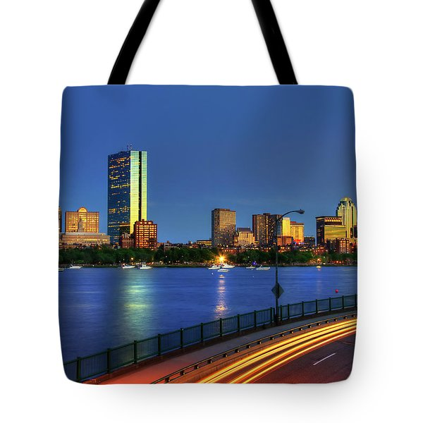 Tote Bag featuring the photograph Boston Skyline Sunset Over Back Bay And The Charles River by Joann Vitali