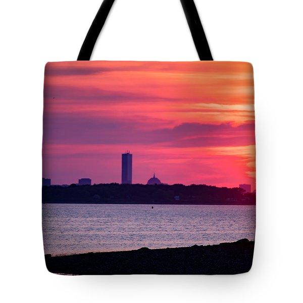 Boston Skyline Worlds End Tote Bag