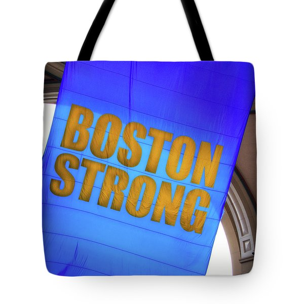 Tote Bag featuring the photograph Boston Strong - Boston Marathon Banner by Joann Vitali